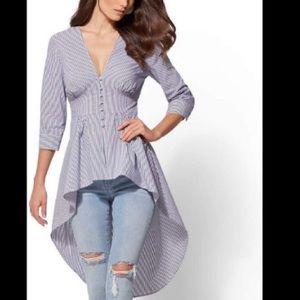 New York & Co striped hi lo poplin tunic (Size S)